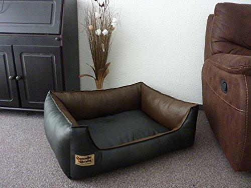 Hundebett Hundesofa Schlafplatz Kunstleder Similpelle Farbe und Größe wählbar von XS bis XXL (80 cm X 60 cm, schwarz braun)