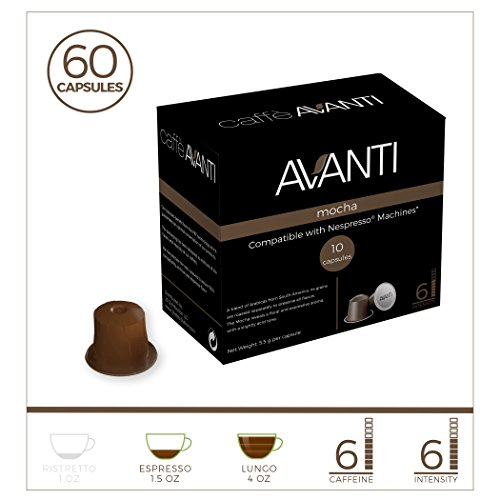 Avanti Mocha, Nespresso compatible coffee capsules, Premium dark roast Espresso, 60 High Intensity pods, fits all Nespresso line machines