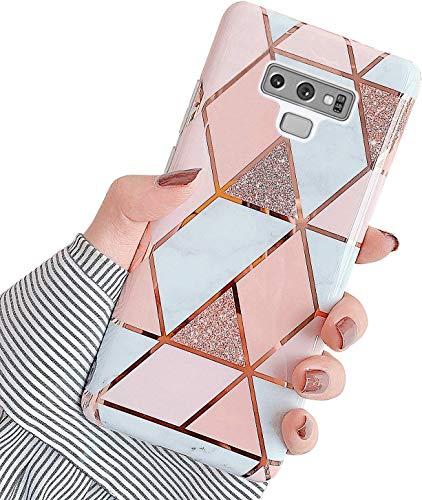 Uposao Kompatibel mit Samsung Galaxy Note 9 Hülle Silikon Ultra Dünn Handyhülle Bunt 3D Bling Glitzer Marmor Muster Weich Schutzhülle Kratzfest TPU Bumper Handytasche Soft Case,Rosa Weiß