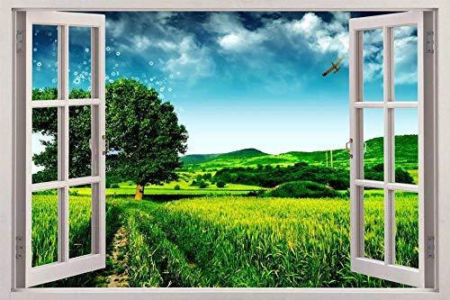 HUJL Pegatinas de pared hierba verde etiqueta de la vista de la ventana 3d etiqueta de la pared arte decorativo mural fantasía naturaleza