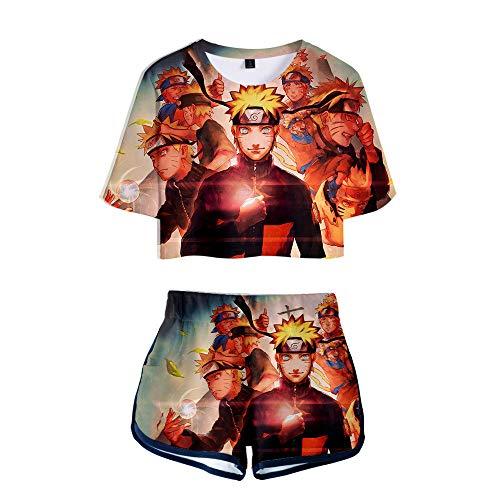 Uzumaki Naruto Ropa Deportiva Pantalones Cortos De Camiseta Mujer Anime Pijama De 2 Piezas Tops De Verano Suave Sper Seco Rojo Naranja M