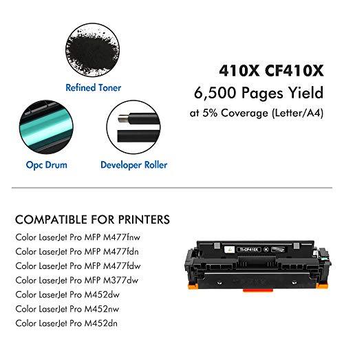 True Image Compatible Toner Cartridge Replacement for HP 410X CF410X CF410A 410A M477 M452 Laserjet Pro MFP M477fdw M477fnw M452dw M477fdn M452nw M452dn M377dw (Black, 1-Pack) Photo #3