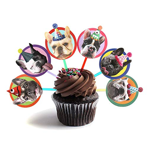 French Bulldog Cupcake Toppers, set of 6 different birthday dogs party decorations