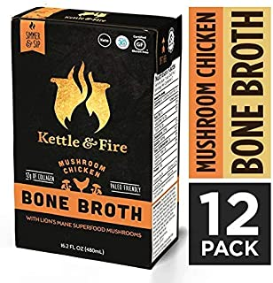 Mushroom Chicken Bone Broth by Kettle and Fire, Pack of 12, Keto Diet, Paleo Friendly, Whole 30 Approved, Gluten Free, with Collagen, 7g of protein, 16.2 fl oz