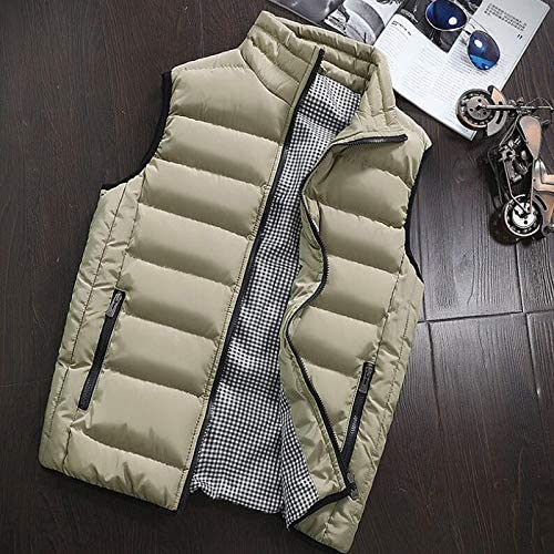 LYLY Vest Women Autumn Winter Vest Men Casual Outwear Warm Sleeveless Jackets Male Fashion Waistcoat 5XL Vests Gilet Vest Warm (Color : Khaki, Size : XXXL)