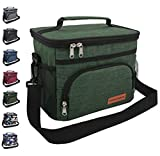 Insulated Lunch Bag for Women/Men - Reusable Lunch Box for School Office Picnic Hiking Beach - Leakproof 12-Can Coke Cooler Tote Bag Organizer with Adjustable Shoulder Strap for Adults - Green