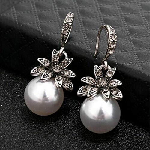 JOY Jewelry New Women Earrings Irregular Pearl Circle Geometric Drop Dangle Earring Jewelry (White)