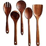 Kuinayouyi Juego de utensilios de madera para cocina, hecho a mano de teca natural, cuchara de cocina de madera para utensilios de cocina antiadherentes (5 juegos)