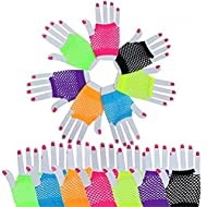 Stretchy Fingerless Fishnet Gloves 80's Custome Accessories for Parties, 7 Colors