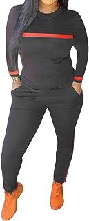 Women's Sweatsuits, 2 Pieces Sexy Sportwear Set for Women Short Sleeve Crop Tops+Color Stripe Skinny Pants Tracksuit Set