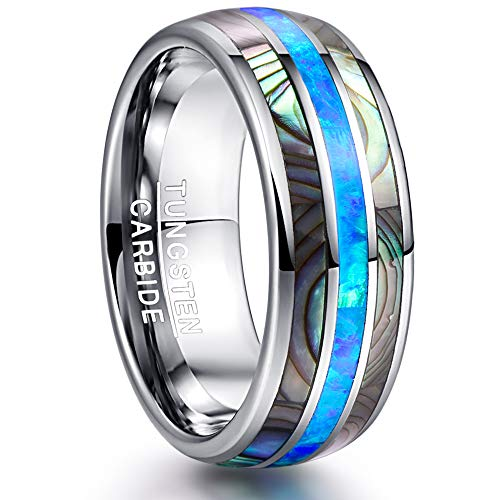 NUNCAD Tungsten Carbide Rings for Men/Ladies Blue Opal and Abalone Shell Inlay 8mm Wedding Band Comfort Fit Size Z+1