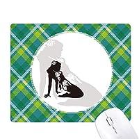 ホット女性の女の子の制服 緑の格子のピクセルゴムのマウスパッド