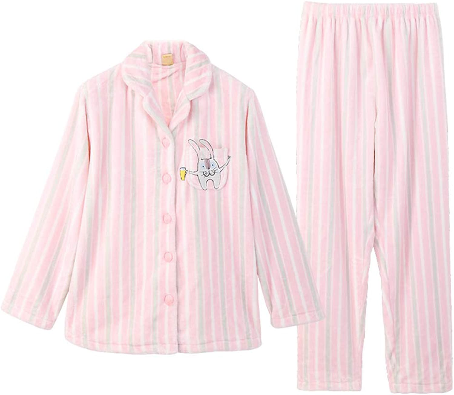 Pajamas Winter Coral Velvet Female Long Sleeve Sweet Cute Cardigan Flannel Home Service Suit (color   Pink, Size   S)