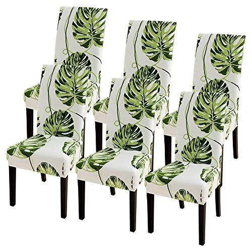 SearchI Fundas para sillas con respaldo, 6 unidades, elásticas, para sillas de comedor, lavables, funda extraíble con respaldo, funda protectora de la silla con hojas verdes