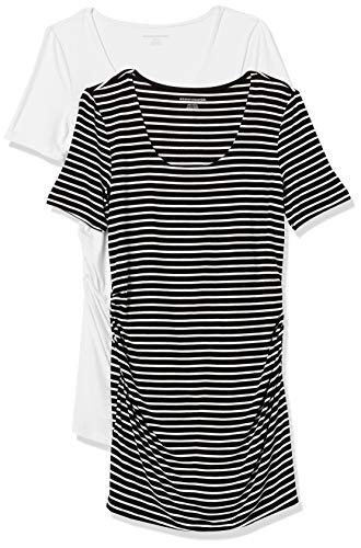 Amazon Essentials Maternity 2-Pack Short-Sleeve Rouched Scoopneck T-Shirt Fashion Shirts, Rayas Finas Negro/Blanco, M