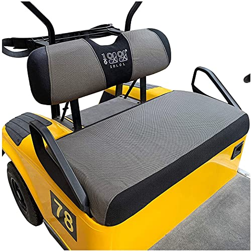10L0L Golf Cart Seat Covers Set Fit for EZGO TXT RXV & Club Car DS, Breathable Bench Seat Cover Keep The Seats Cool in The Summer Heat Washable Polyester Mesh Cloth Brown-Grey and Black - Small