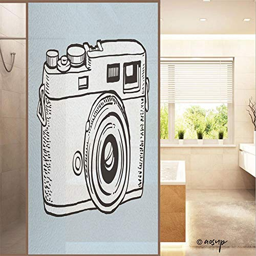 """ShopHM No Glue Window Films Vector Sketch Style of Retro Camera Country Style Stained Opaque Glass Stickers Decor Home Hotel Resturant (23.6""""x47.2"""")"""