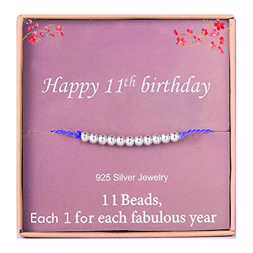 Birthday Gifts for 11th Girls Silver Beads Bracelet for 11 Years Old Girl...