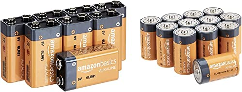 Amazon Basics 8 Pack 9 Volt Performance All-Purpose Alkaline Batteries, 5-Year Shelf Life, Easy to Open Value Pack & ...
