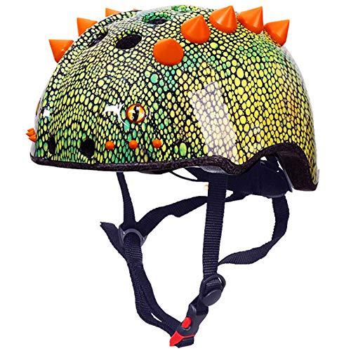 HWJF Casco Deportivo para niños Dinosaurio Casco 3D Bicicleta para jóvenes Scooter...