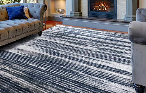 Diagona Modern Stripes 8X10 Area Rug, 92' W x 116' L, Ivory/Navy/Teal