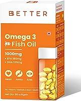 BBETTER Omega 3 Fish Oil | 1000mg Omega 3 Fatty Acid capsules with 180 mg EPA 120 mg DHA - 60 Softgels | Omega 3 Fish...