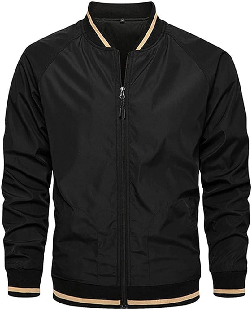 Zipper Men Streetwear Bomber Coat Male Black White Outwear Windbreak Men's
