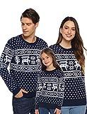 Aibrou Weihnachtspullover Damen Familie Set Weihnachten Pullover Unisex Rentier Schneeflocken Christmas Sweater Strickpullover - Damen-Marine S