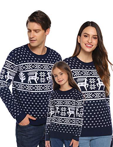 Aibrou Jersey de Navidad para Familia,Suéter de Copos de Nieve de Renos navideños para Mujer Hombre,Jersey Pullover de Punto Algodon Vintage de Inviernno Manga Larga (1# Niños Azul Marino XXL)