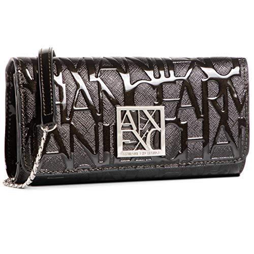 Armani Exchange Liz Wallet On Chain, Travel Accessory-Portafoglio da Viaggio Donna, Nero, Taglia unica