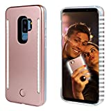 FULLOPTO Selfie Light up Case for S9 Plus, Light Selfie case with 2 Sides Led Lamps with Double Rechargeable LED Flashlight and Protection for Samsung S9+ (Rose Gold)