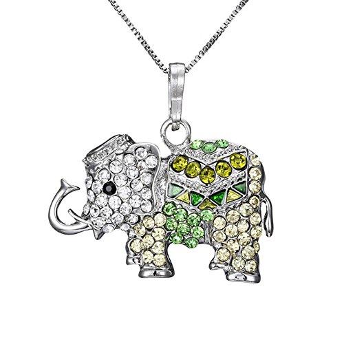 fablcrew Halskette für Damen Anhänger Damen Halskette Elefant Halskette Anhänger Liebespuppe 35cm+8cm grün