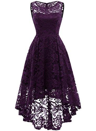MuaDress 6006 Elegante Abendkleider Cocktailkleider Damenkleider Brautjungfernkleider aus Spitzen Knielange Rockabilly Ballkleid Rund Ausschnitt Grape XL