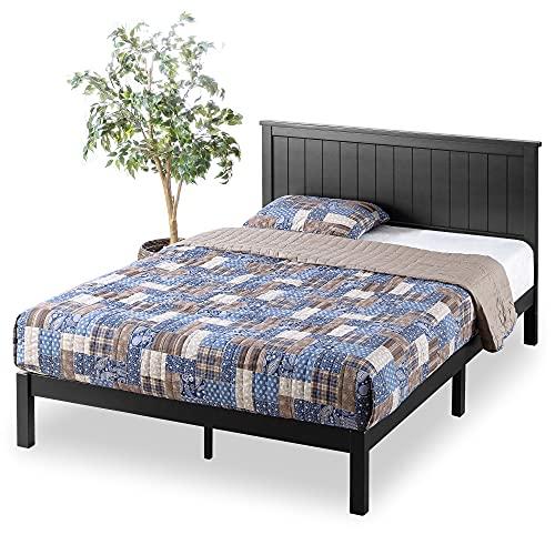 Zinus Santiago Wood Cottage Style Platform Bed with Headboard / No Box Spring Needed / Wood Slat Support - Queen,OLB-SWPBHT-12Q,Black