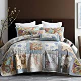 NEWLAKE Bedspread Quilt Set with Real Stitched Embroidery, Floral Paisley Grid Pattern,Queen Size