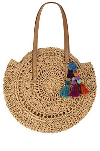 Beach Bag Straw Handbags for Women Natural Chic Large Round Bohemian Shoulder Hand Bag Wallet Purse with Boho Pom Pom Tassel Bag Charm Key Chain (Khaki)