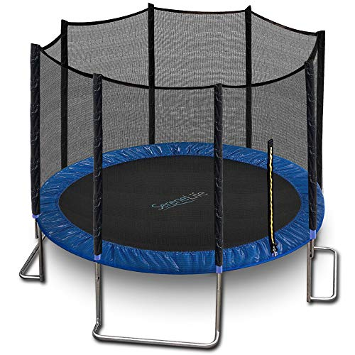 Outdoor Trampoline with Enclosure 12FT - Full Size Backyard Trampoline with Safety Net - Enclosed Trampoline for Kids, Teen, Adult - 12 Feet Indoor Outdoor Trampolines - SereneLife SLTRA12BL