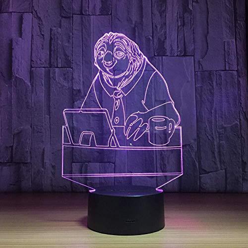 Preisvergleich Produktbild LED Nachtlicht Herr Faultier Geschenke spielzeug dekor 3d illusion lampe 7 farben touch control usb powered party dekoration lampe 3D visuelle Lampe für Home Décor Xmas Geburtstagsgeschenke