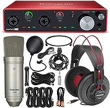 Focusrite Scarlett 4i4 USB Audio Interface (3rd Generation) + Tascam TM-80 Studio Condenser Microphone, SamsonSR850 Stereo Headphones, Xpix Pop Filter, Cables and Professional Accessories