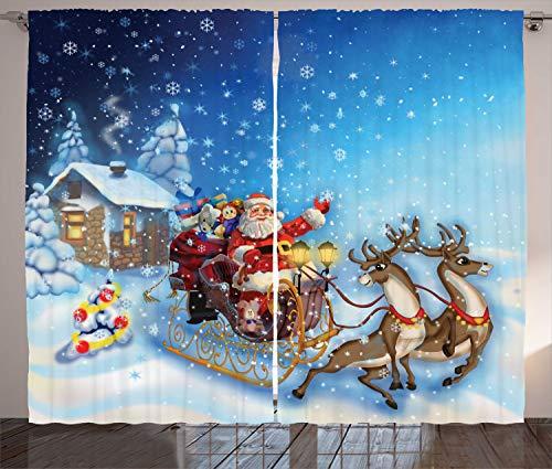 ABAKUHAUS Weihnachten Rustikaler Vorhang, Santa in Schlitten Spielzeug, Wohnzimmer Universalband Gardinen mit Schlaufen und Haken, 280 x 245 cm, Marineblau