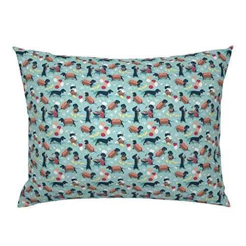 Roostery Pillow Sham, Dog Pattern Man Best Friend Year of The Dog Aqua Puppies Weiner Barbecue Print, 100% Cotton Sateen 26in x 26in Knife-Edge Sham