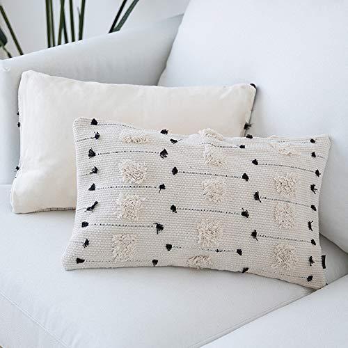cygnus Lumbar Throw Pillow Cover 12x20 Boho Decorative Black and Beige White Farmhouse Pillows Cover Woven Tufted Cushion Case for car and Sofa(Lumbar 12x20 inch)