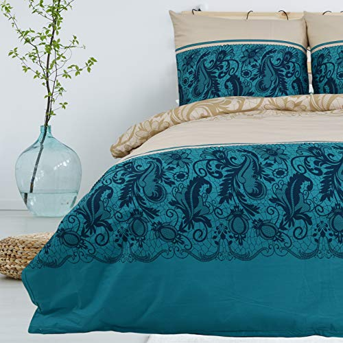 Bettwäsche 155x220 cm 2 teilig aus 100% Baumwolle Renforce mit Reißverschluss Bettwäscheset 1 Bettbezug und 1 Kissenbezug Komfortgröße, Farbe Creme-Weiss Petrol Aquamarin, Mehrfarbig mit Muster