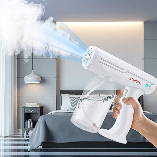 S SMAUTOP Pistola de Vapor de Desinfección Nano 800Ml Luz Azul Nebulizador Desinfectante Portátil Recargable de Mano Máquina Pulverizadora de Esterilización para El Hogar, Automóvil, Oficina, Hospital