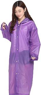 レインコート 環境保護PEレインコートアウトドアハイキング大人用使い捨て肥厚増加ポータブルシングル透明コードレインコートポンチョユニセックスレインコート 成人用レインコート (色 : 紫の)