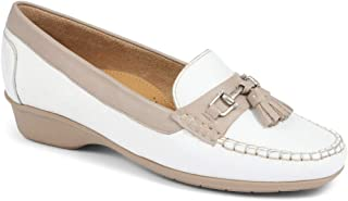 Pavers Womens Leather Tassel Loafer Shoes Cushioned Insole Smart Casual