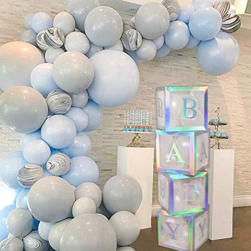 FengRise Baby-Dusche-Boxen Party-Dekorationen - 4Pcs Regenbogen Silber Transparente Luftballons Baby-Box Baby-Block-Dekorationen für Jungen Mädchen Baby-Dusche Geschlecht enthüllen Geburtstagsfeier