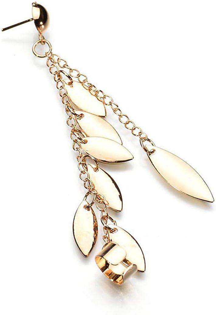 GOMYIE 1Pc Women Punk Rock Leaf Chain Tassel Dangle Cuff Earrings Charms Metal Wrap Ear Cuff Earrings