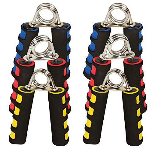 POWRX Handmuskeltrainer 2er Set I Handtrainer Easy Medium Strong I Griffkraft Trainer ideal für unterwegs (Gelb/Easy)