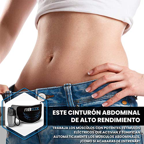 ABFLEX Ab Toning Belt for Developed Stomach Muscles, Remote for Quick and Easy Adjustments, 99 Intensity Levels and 10 Workouts for Fast Results (Black)